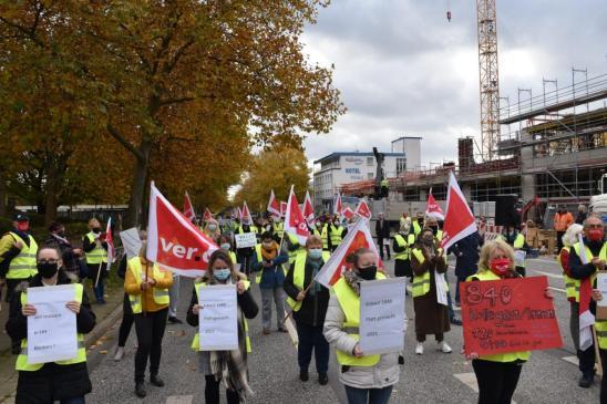 Aktion der Beschäftigten in Bramfeld